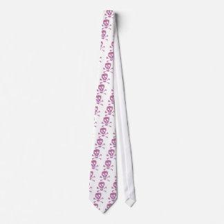 Pink Abstract Skulls Neck Tie