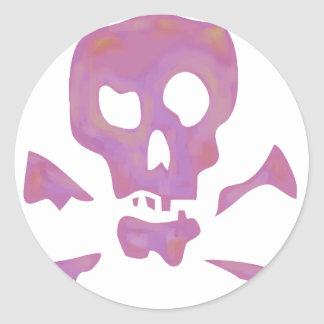 Pink Abstract Skulls Classic Round Sticker