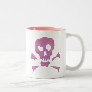 Pink Abstract Skulls Two-Tone Coffee Mug