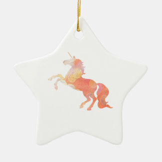Pink Abstract Soft Lighting Unicorn Ceramic Ornament