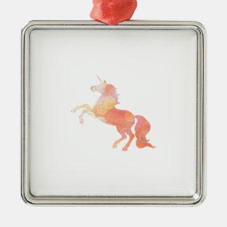 Pink Abstract Soft Lighting Unicorn Metal Ornament