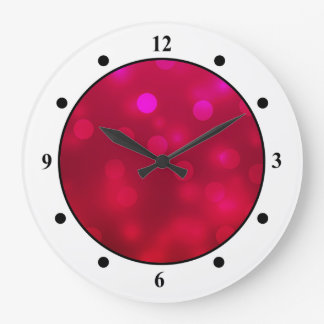 Pink Abstract Sparkles Light Design Large Clock