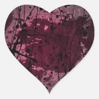 Pink Abstract Splatter Art Heart Sticker
