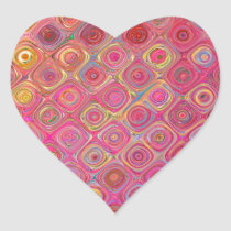 Pink Abstract Swirl Pattern Design Heart Sticker