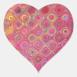 Pink Abstract Swirl Pattern Design Heart Sticker