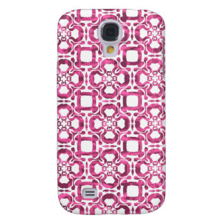 Pink Abstract Tile Pattern Samsung Galaxy S4 Cases