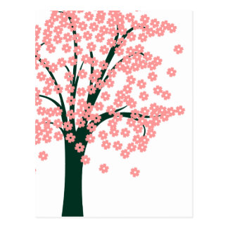 Pink Abstract Tree Postcards
