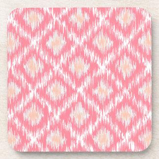 Pink Abstract Tribal Ikat Chevron Diamond Pattern Beverage Coaster