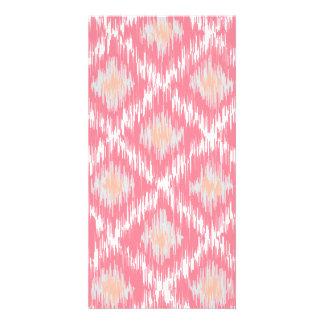 Pink Abstract Tribal Ikat Chevron Diamond Pattern Personalized Photo Card