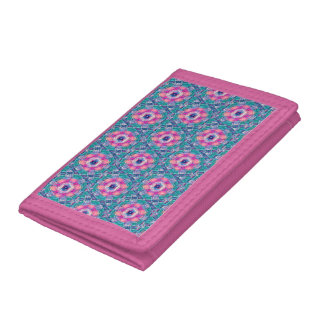 Pink Abstract TriFold Nylon Wallet