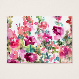 Pink Abstract Watercolor Flower Background Business Card