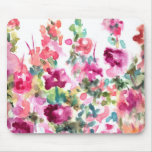 Pink Abstract Watercolor Flower Background Mouse Pad
