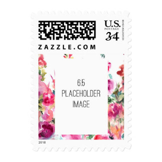 Pink Abstract Watercolor Flower Background Postage Stamps