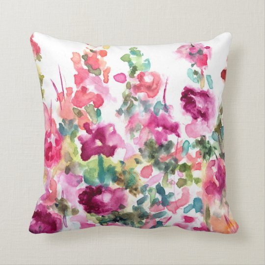 Pink Abstract Watercolor Flower Background Throw Pillow ...