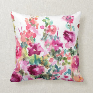 Pink Abstract Watercolor Flower Background Throw Pillow