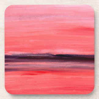 Pink abstract watercolour painting beverage coaster