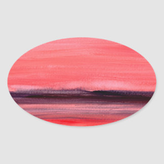 Pink abstract watercolour painting oval sticker