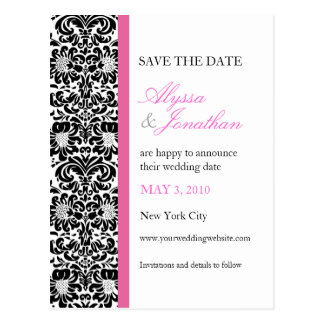 Pink Accents Damask Save the Date Card Post Card