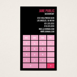 Pink Accountant Calculator Business Card
