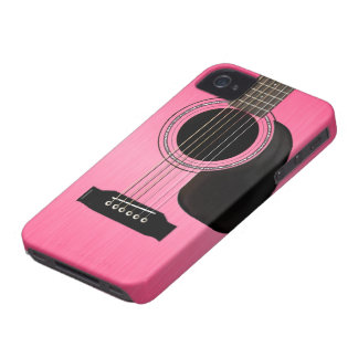 Pink Acoustic Guitar iPhone 4 Cover