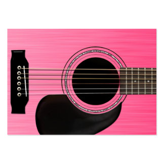 Pink Acoustic Guitar Large Business Card