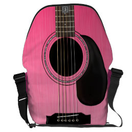 Pink Acoustic Guitar Messenger Bag