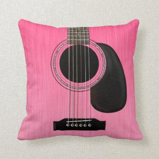 Pink Acoustic Guitar Throw Pillow