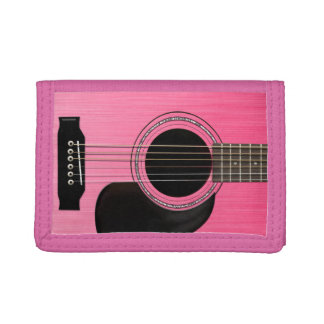 Pink Acoustic Guitar Tri-fold Wallets