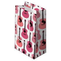 Pink Acoustic Guitars Pattern Small Gift Bag