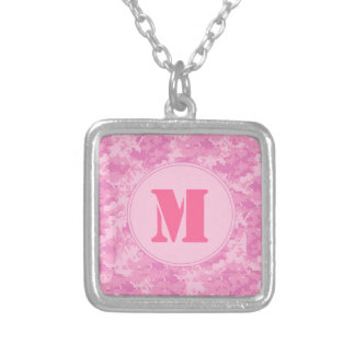 Pink ACU Camo Camouflage Girly Monogram Necklace
