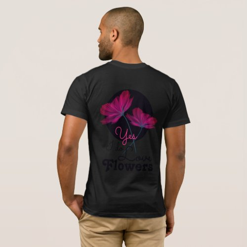 Pink Addict floral two pink and black flowers T_Shirt