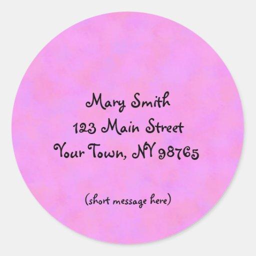 Pink Address Label Round Sticker