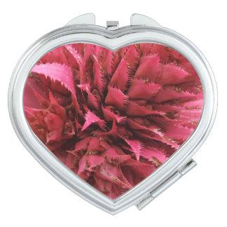 Pink Aechmea Flower  Heart Compact Mirror