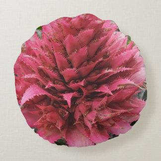 Pink Aechmea Flower Round Pillow