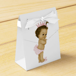 Pink African American Baby Girl Shower Favor Box