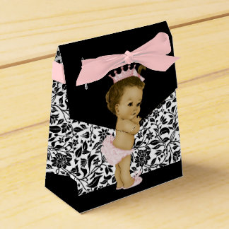Pink African American Baby Girl Shower Wedding Favor Box