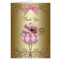 Pink African American Baby Girl Thank You Cards