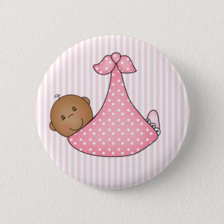 Pink African American Girl in Blanket Button