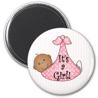 Pink African American It's a Girl 2 Inch Round Magnet