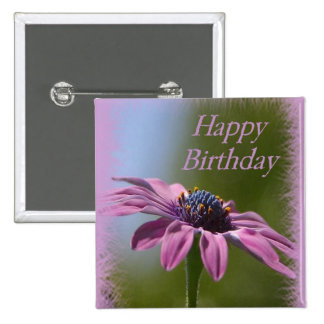 Pink African Daisy Happy Birthday Pinback Button
