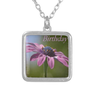 Pink African Daisy Happy Birthday Silver Plated Necklace