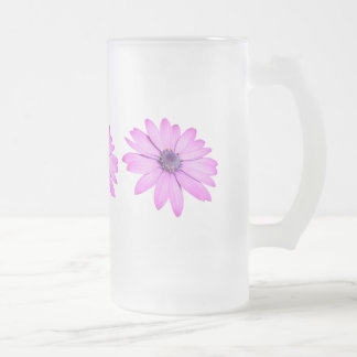 Pink Afrıcan Daisy With Transparent Background Frosted Glass Beer Mug