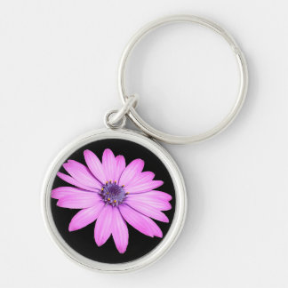 Pink Afrıcan Daisy With Transparent Background Silver-Colored Round Keychain