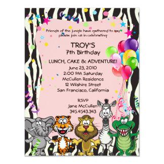 Pink African Safari Girl's Birthday Party Invitati 4.25x5.5 Paper Invitation Card