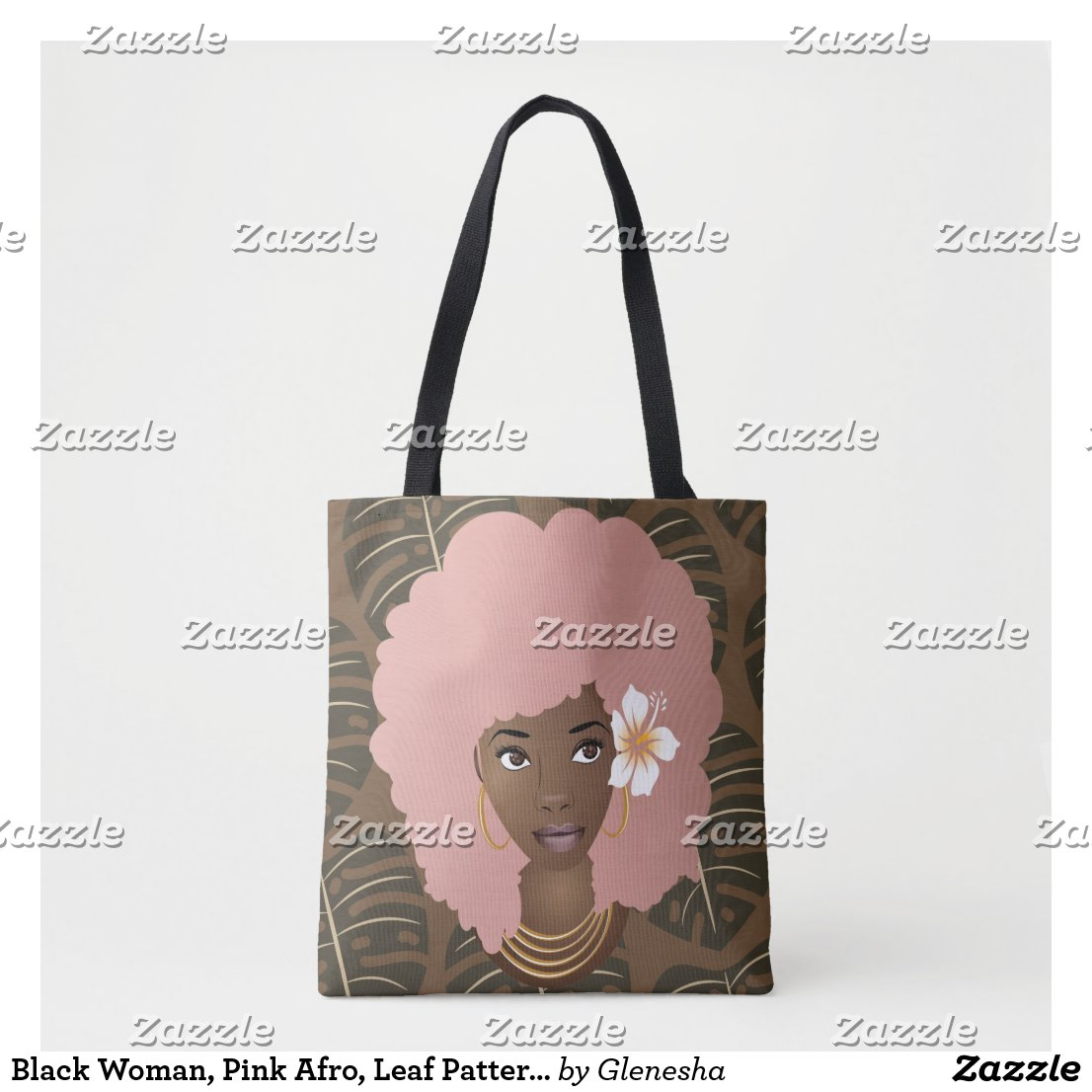 Pink Afro, Flower in Hair, Tropical Leaves Pattern