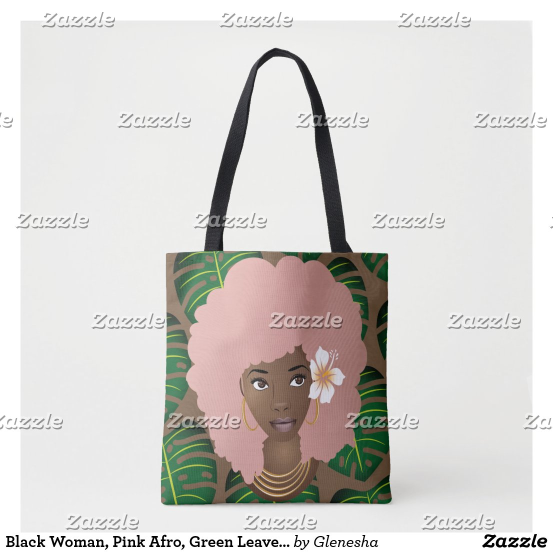 Pink Afro, Tropical Leaves Pattern Tote Bag