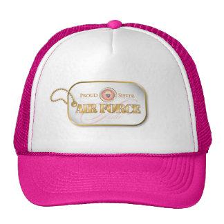 Pink Air Force Sister Dog Tag Hats