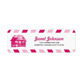 Pink Airmail Beach Hut RETURN ADDRESS Mailing Label