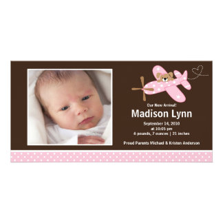 Pink Airplane Baby Girl Birth Annoucement Picture Card