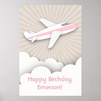 Pink Airplane Birthday Poster
